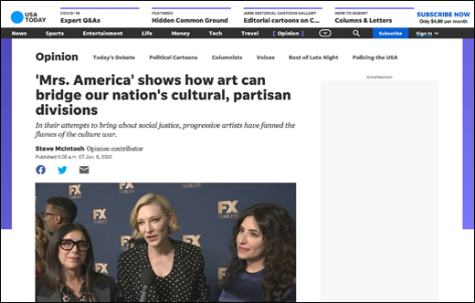 USA Today Op-ed: 'Mrs. America' Shows How Art Can Bridge Our Nation's Cultural, Partisan Divisions